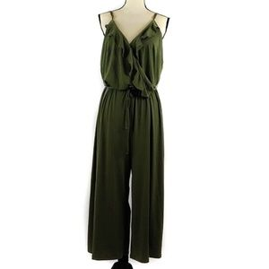 NY Collection Jumpsuit Cropped Olive Green 1X